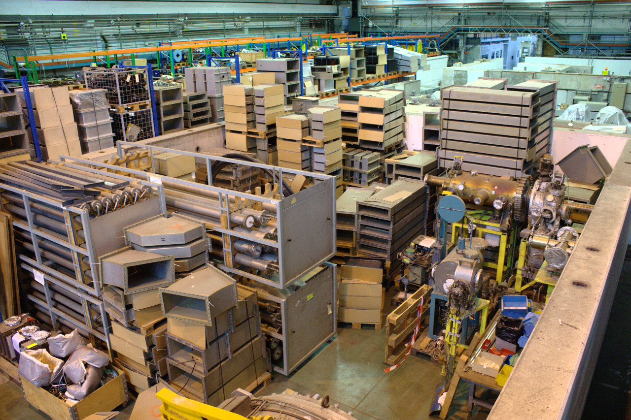 Warehouse at the LEIR facility storing old components