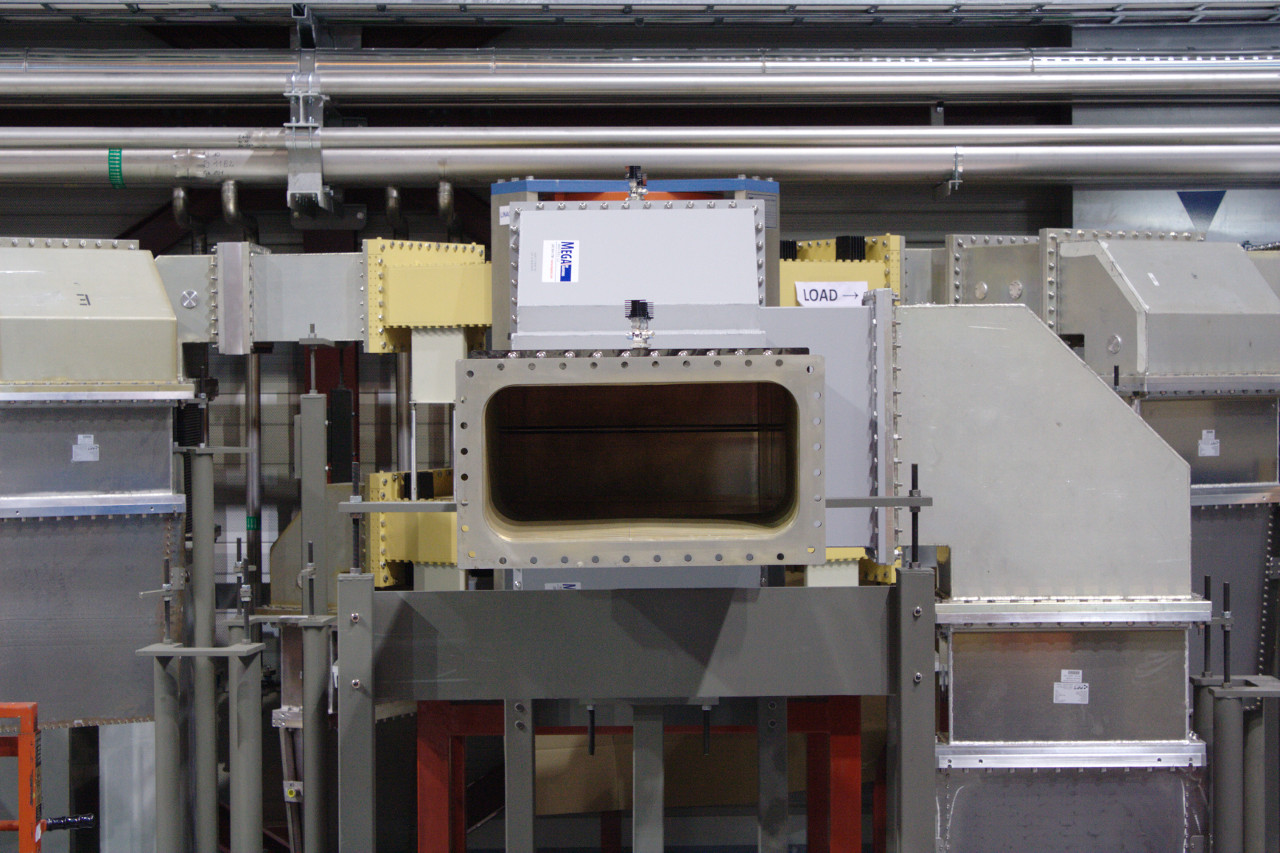Large waveguide used to direct the RF power from the klystrons