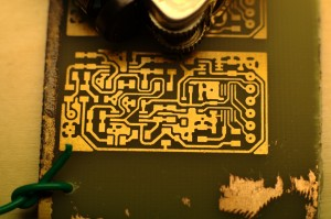 Radiation detector board after etching