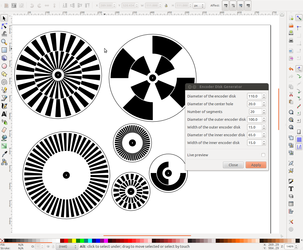 inkscape extension for creating optical rotary encoder discs   dgk electronics