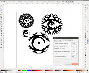 Screenshot of my Inkscape optical rotary encoder disc generator with the GRBC menu open