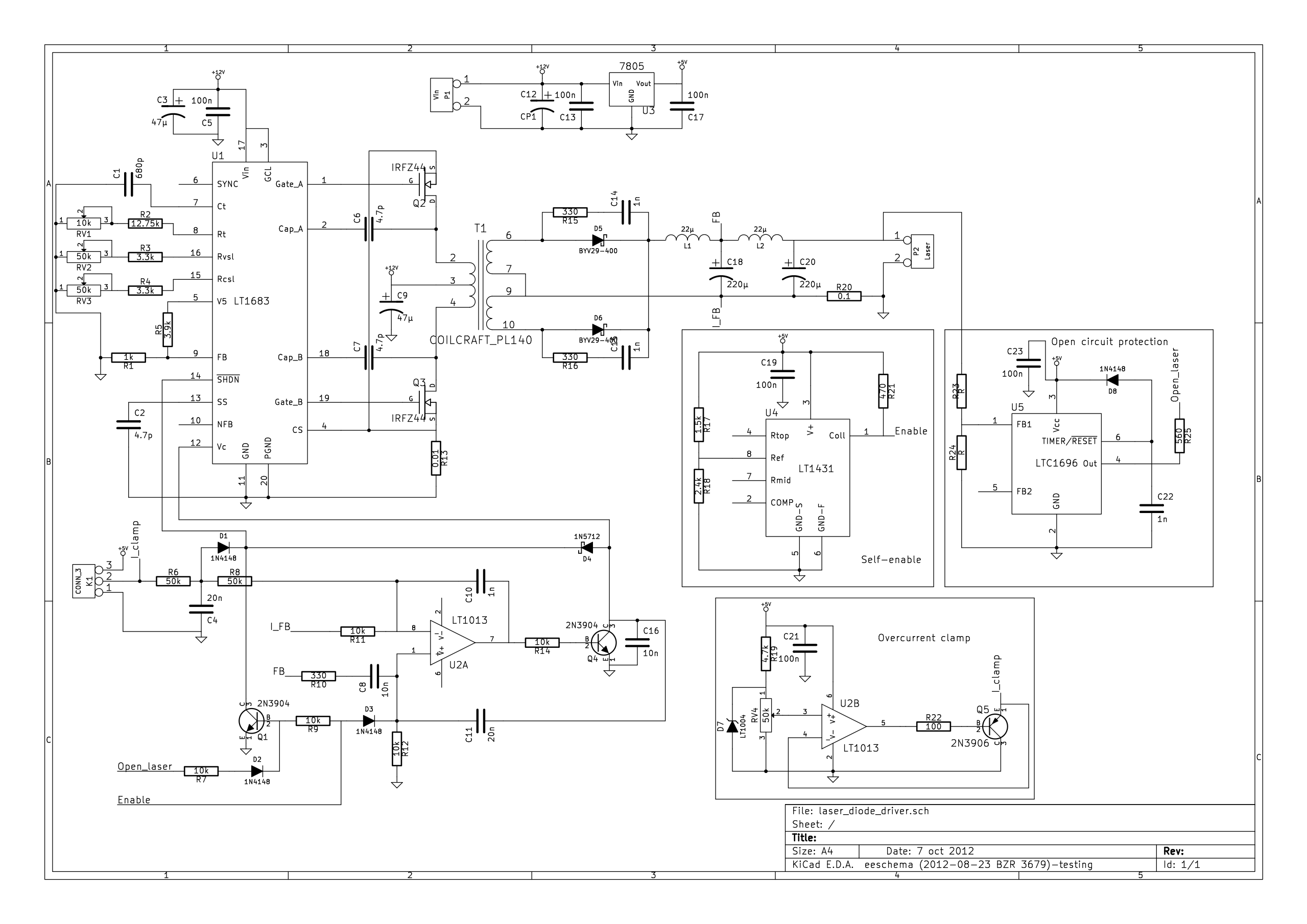 Schematic Laser Diode Driver Circuit Diagram Example Wld3343 In Constant Current Mode With A Type Switchmode Based On Lt1683 Dgk Electronicsrh
