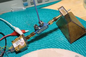 Microwave horn antenna under test