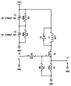 Inductor saturation current tester schematic